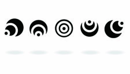 Set of black and white target icon with abstract circle isolated on white background, vector illustration Vettoriali
