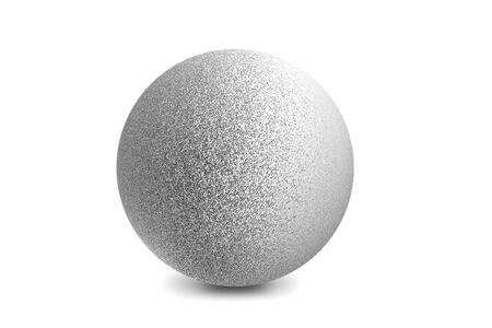 Light shining on silver metal ball isolated on white background Imagens