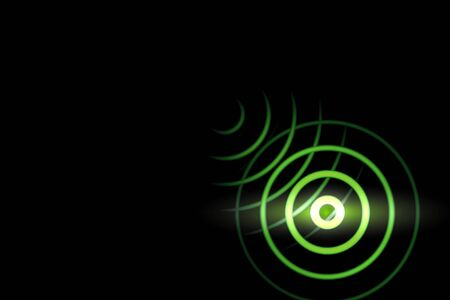 Light green sound waves oscillating with circle ring, abstract background