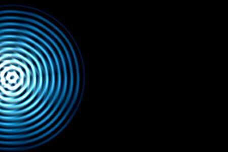 Light blue sound waves oscillating with circle ring, abstract background