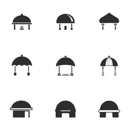 Set di icone della casa a cupola in bianco e nero con stile moderno della tenda, illustrazione vettoriale
