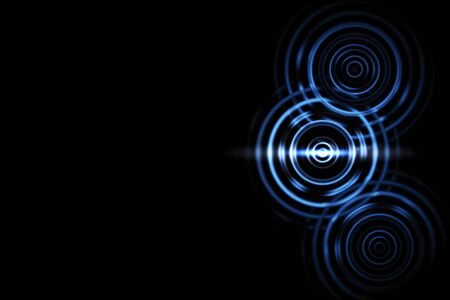 Abstract light effect with blue rings sound waves oscillating on black background Archivio Fotografico - 129267381