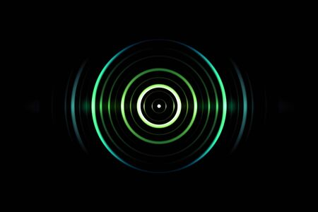 Abstract green circle effect with light blue rings sound waves oscillating on black background