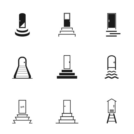 Set of black white door and stairs icon with front entrance and exit for the input and output, vector illustration Standard-Bild - 129267394