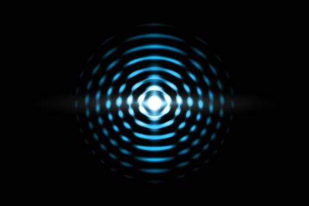 Abstract light blue ball effect with sound waves oscillating on black background Zdjęcie Seryjne