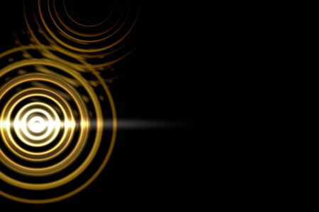 Abstract light circle effect with gold rings on black background