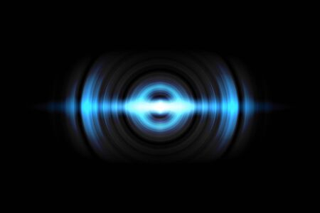 Abstract light blue circle effect with sound waves oscillating on black background Stock fotó - 129846410