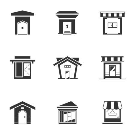 Satz von Schwarz-Weiß-Bungalow-Symbol. Monochromes Ladengebäude. Moderner Stil des Hauses, Vektorillustration