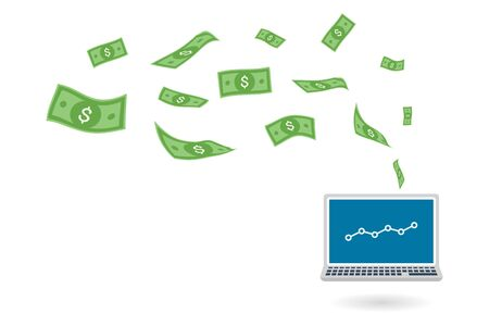 Dollar bills flying out laptop computer screen to show the success of making money online, vector illustration