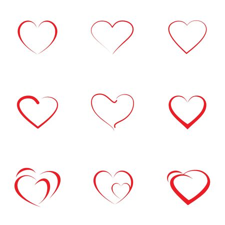 Set of red hearts icon with different outline hearts, vector illustration. Design elements for Valentines day. Stock Illustratie