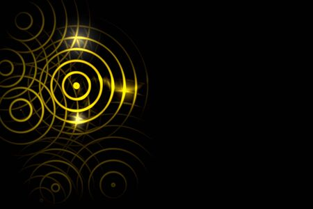 Abstract light yellow circle ring effect with sound waves oscillating on black background Stock fotó - 129846446