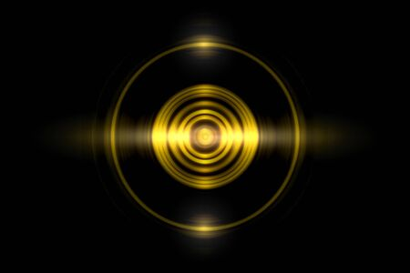Abstract gold circle ring light effect with sound waves oscillating on black background