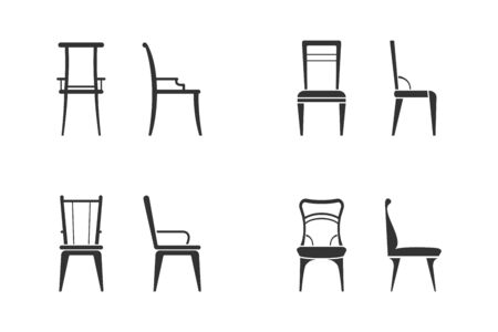 Set of black and white chairs icon. Front view and side view of different chair flat style, vector illustration