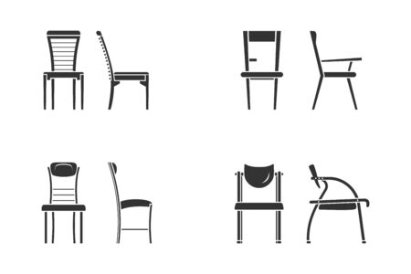 Black and white chair icon set for interior design. Front view and side view of different chair flat style, vector illustration