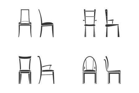 Black and white chair icon set for kitchen room. Front view and side view of different chair flat style, vector illustration