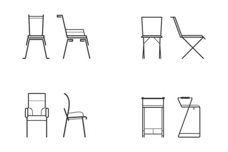 Abstract black and white chair icon set for living room. Front view and side view of different chair flat style, vector illustration