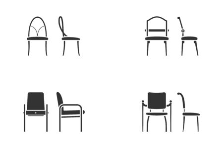 Set of abstract black and white chair icon for lobby room. Front view and side view of different chair flat style, vector illustration