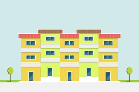 Flat design, green and yellow apartment building asia style with clear blue sky background, vector illustration