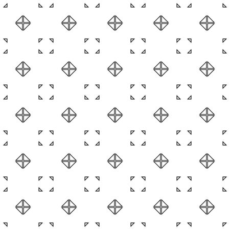 Abstract seamless pattern, black and white outline of triangle shapes. Design geometric texture for print, vector illustration