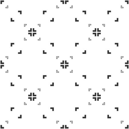 Abstract seamless pattern, black and white of aspect pixel perfect with right angles. Modern stylish. Design geometric texture for print, vector illustration