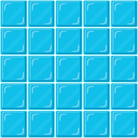 Abstract seamless pattern, blue ceramic tiles wall or clear glass block. Design geometric mosaic texture for the decoration of the bathroom, vector illustration