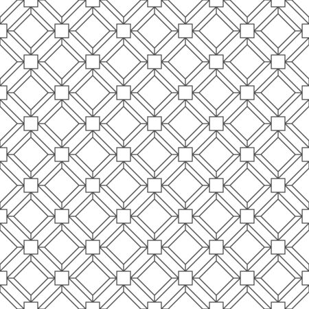 Abstract seamless pattern, black small square outline with rhombus shape on white backdrop. Design geometric texture for print. Linear style, vector illustration