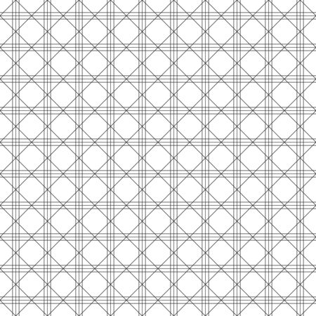 Abstract seamless pattern, black grating line with rhombus shape on white backdrop. Design geometric texture for print. Linear style, vector illustration  イラスト・ベクター素材