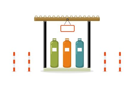 Storage of gas cylinders with red white column bollard isolate on white background. Petroleum fuel tanks, Different colors tanks, vector illustration