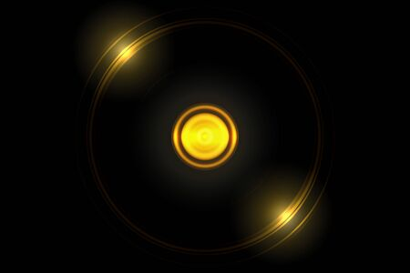 Abstract glowing orange ball effect with light ring shiny on black background 写真素材