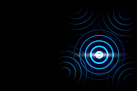 Abstract blue ring with luminous swirling on black backdrop. Glowing spiral with light circles light effect.