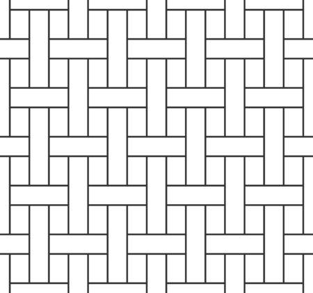 Nahtloses Muster der abstrakten Korbwaren, schwarze Gitterlinie auf weißem Hintergrund. Geometrische Textur für den Druck entwerfen. Linearer Stil, Vektorillustration