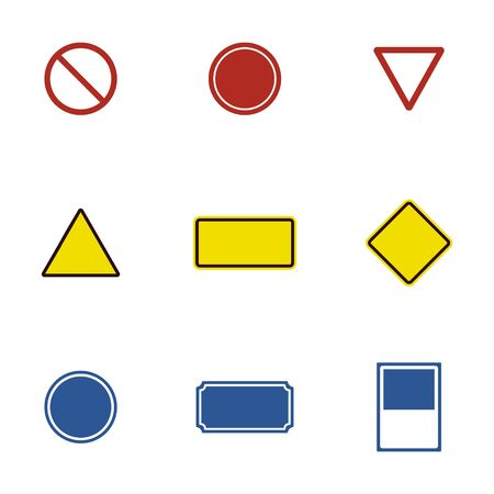 Blank red blue yellow road sign vector illustration. Empty traffic signs isolated on white background. Design blank signboard for your text Illusztráció