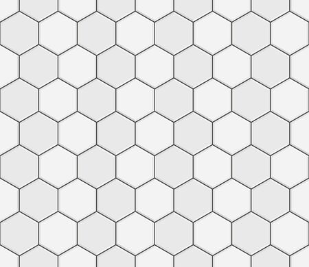 Abstract seamless pattern, white gray ceramic tiles floor. Concrete hexagonal paver blocks. Design geometric mosaic texture for the decoration of the bathroom, vector illustration Ilustração