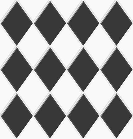 Abstract seamless rhombus pattern. Black white ceramic floor tiles. Design geometric mosaic texture for the decoration of the kitchen room, vector illustration Illusztráció