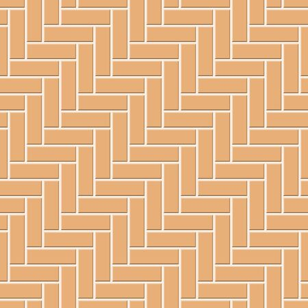 Abstract seamless rectangle pattern. Top view of orange cobblestone street pavement. Concrete square paver blocks. Design geometric mosaic texture for the decoration of the bathroom, vector illustration Ilustração