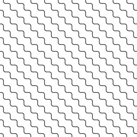 Abstract seamless wavy pattern, black and white tile roof. Design geometric texture for print. Linear style, vector illustration