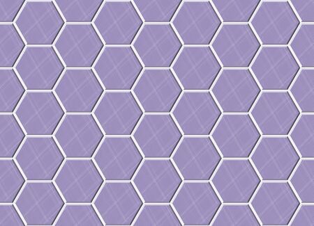 Abstract seamless pattern, purple ceramic tiles floor. Concrete hexagonal paver blocks. Design geometric texture for bathroom, vector illustration Ilustração