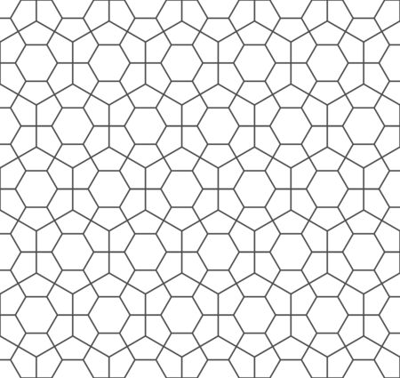Abstract seamless hexagon pattern, black white outline of concrete paver blocks. Design geometric texture for print. Linear style, vector illustration