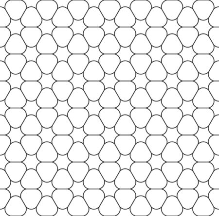 Abstract seamless geometric pattern, black white outline of flower. Design geometric texture for print. Linear style, vector illustration Illustration
