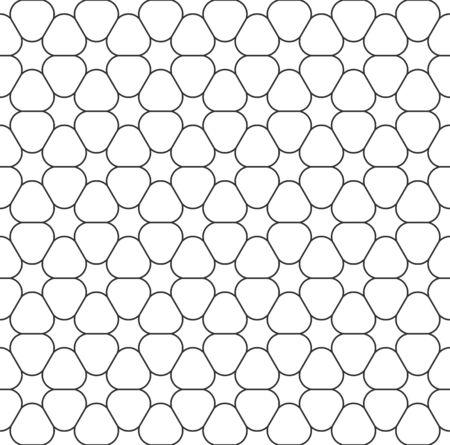 Abstract seamless geometric pattern, black white outline of flower. Design geometric texture for print. Linear style, vector illustration Illusztráció