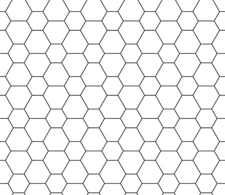 Abstract seamless honeycomb pattern, black and white outline of hexagons of different sizes. Design geometric texture for print. Linear style, vector illustration