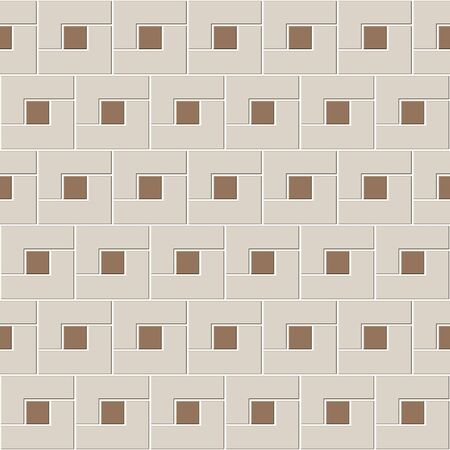 Abstract seamless pattern of brown ceramic floor tiles. L shape blocks with small square inside. Design geometric mosaic texture for the decoration of the kitchen room, vector illustration