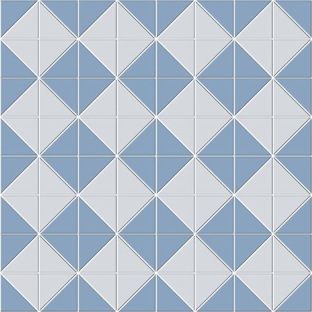 Abstract seamless pattern of blue white ceramic floor tiles. Square shape block consisting of triangle shape. Design geometric mosaic texture for the decoration of the bathroom, vector illustration