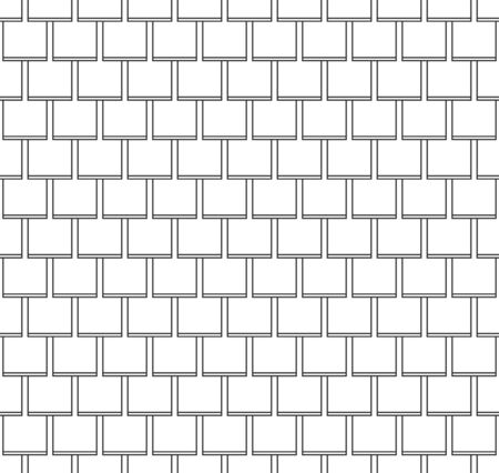 Abstract seamless pattern, black and white tile roof. Design geometric texture for print. Linear style, vector illustration