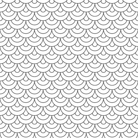 Abstract seamless fish scale pattern, black and white tile roof. Design geometric texture for print. Linear style, vector illustration