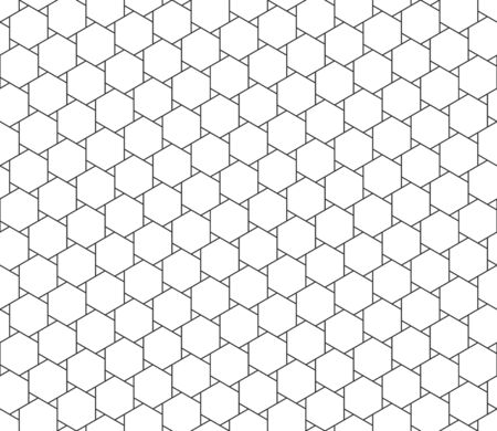 Abstract seamless geometric pattern, black and white outline of hexagons with small triangle shape. Linear style, vector illustration