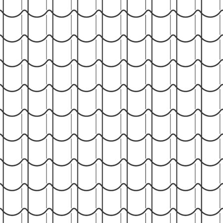 Abstract seamless fish scale pattern, black and white tile roof asian style. Design geometric texture for print. Linear style, vector illustration Иллюстрация