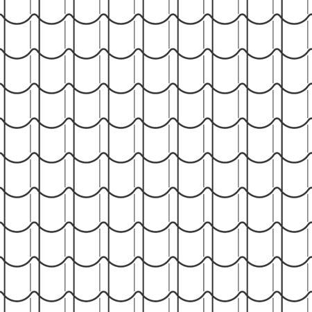 Modèle abstrait d'écailles de poisson sans couture, style asiatique de toit de tuiles noires et blanches. Concevoir une texture géométrique pour l'impression. Style linéaire, illustration vectorielle Vecteurs
