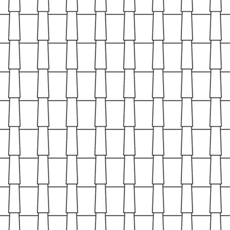 Abstract seamless geometric pattern, black and white outline tile roof. Linear style, vector illustration Ilustração