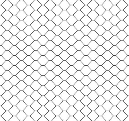 Abstract seamless honeycomb pattern, black and white outline of hexagons. Design geometric texture for print. Linear style, vector illustration